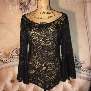 Black Lace Scoop Neck Bell Sleeve Top